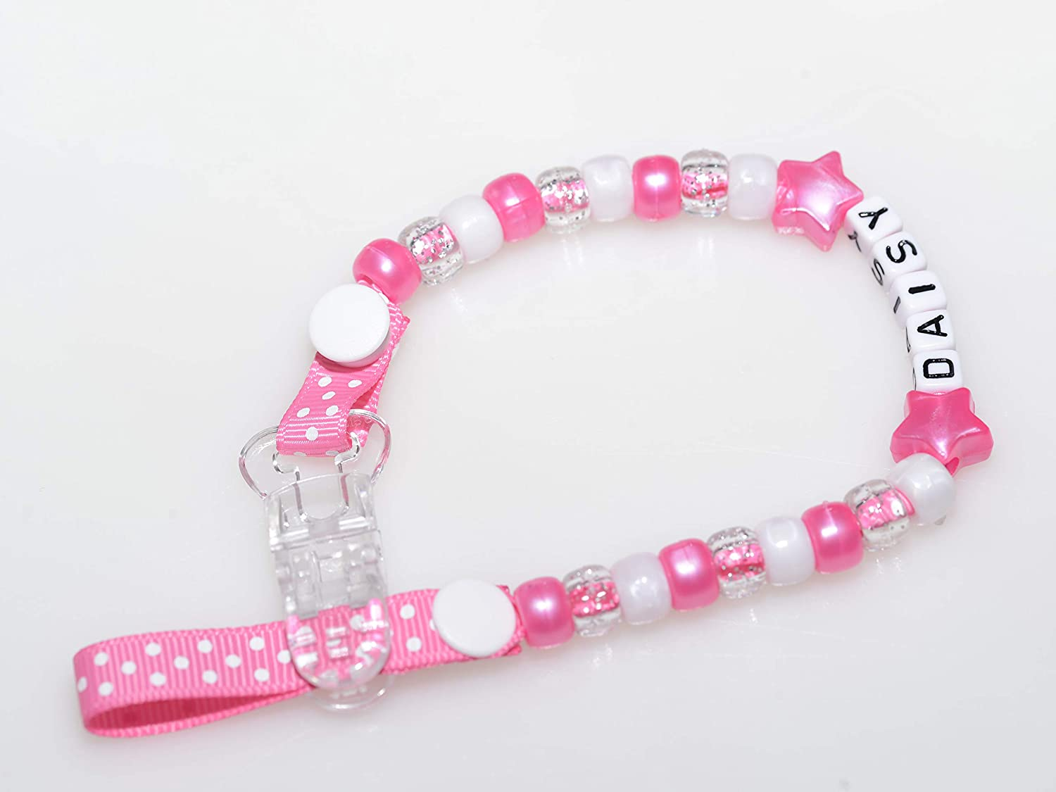 with Bow, Red Personalised Dummy Clips for Baby Girl Or Baby Boy by Polka Dot Ribbon with Bow or Without Bow in Any Name with Many Colours