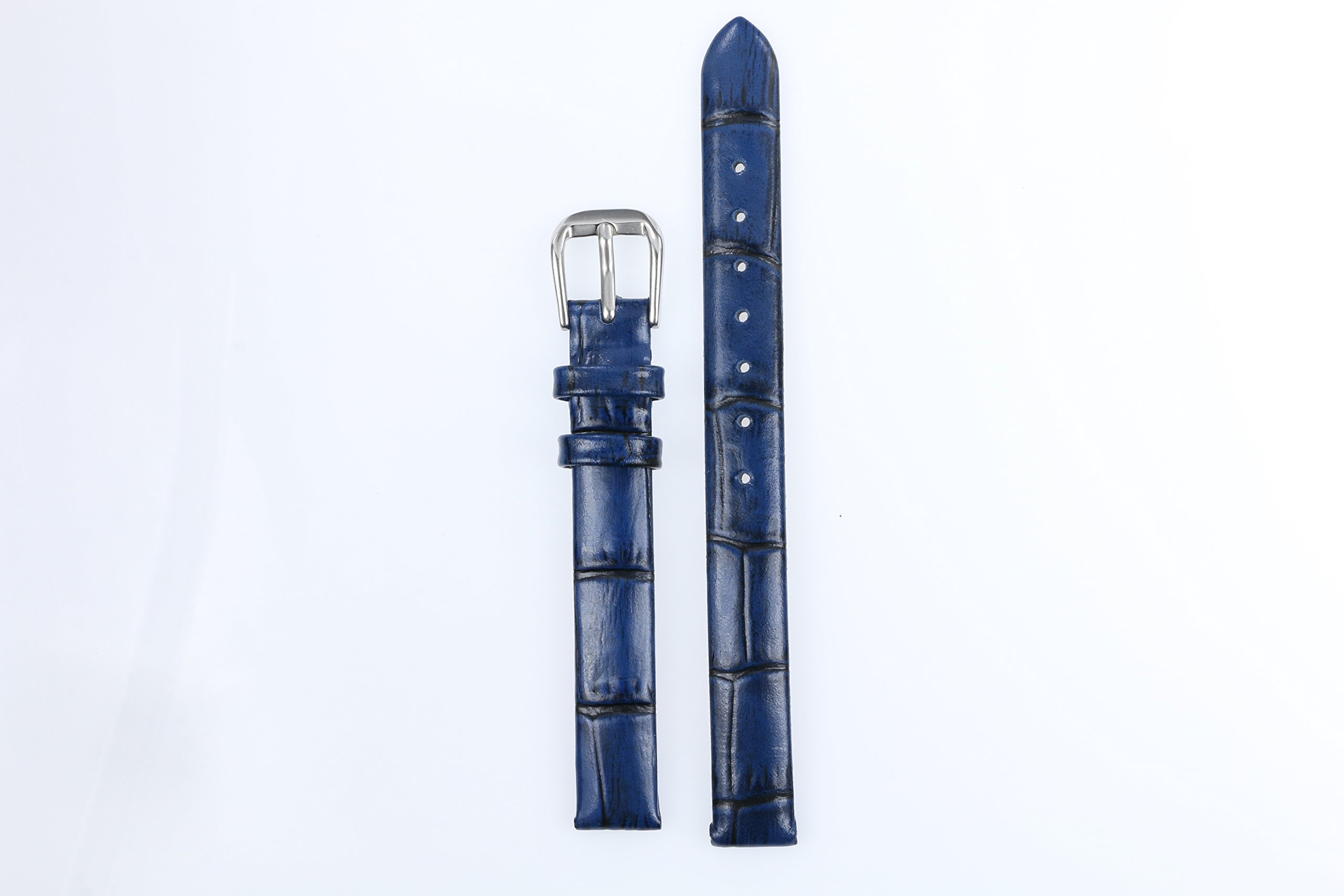 6mm Women's Superfine Luxury Blue Leather Watch Straps Mottled Small Sized Lighty Padded