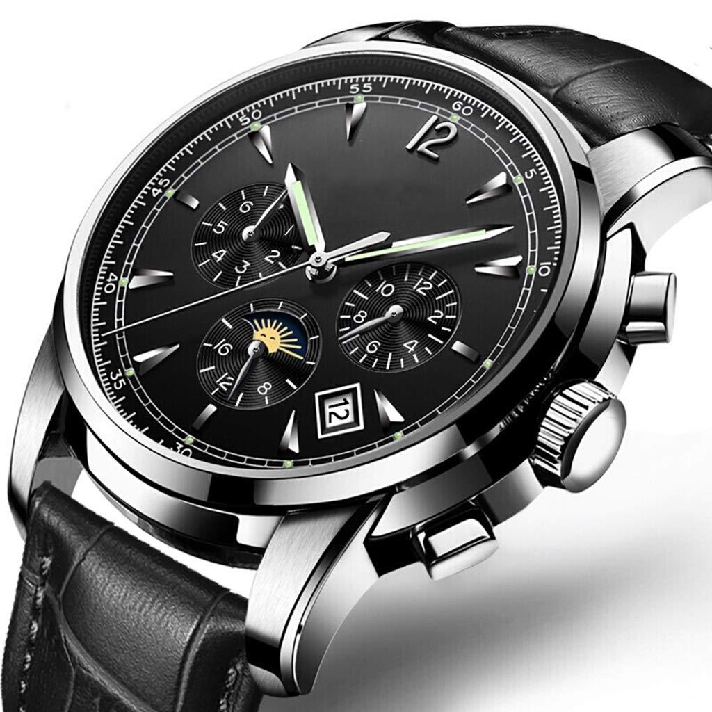 Wyx kvarts klocka för män, mode automatisk ihålig mekanisk lysande, affärsliv vardag, temperament vild svart WTR a
