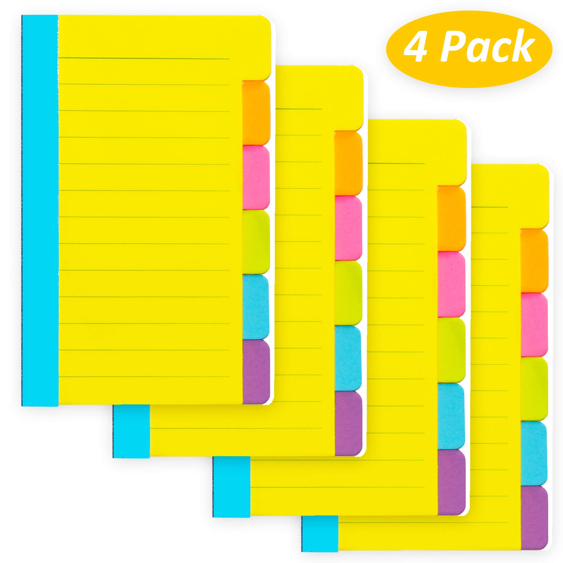 4 Pack Divider Sticky Notes, Total 360 Ruled Lined Notes,School & Office Supplies,Sticky Journals Page Tabs,4 x 6 inches,Assorted Neon Colors