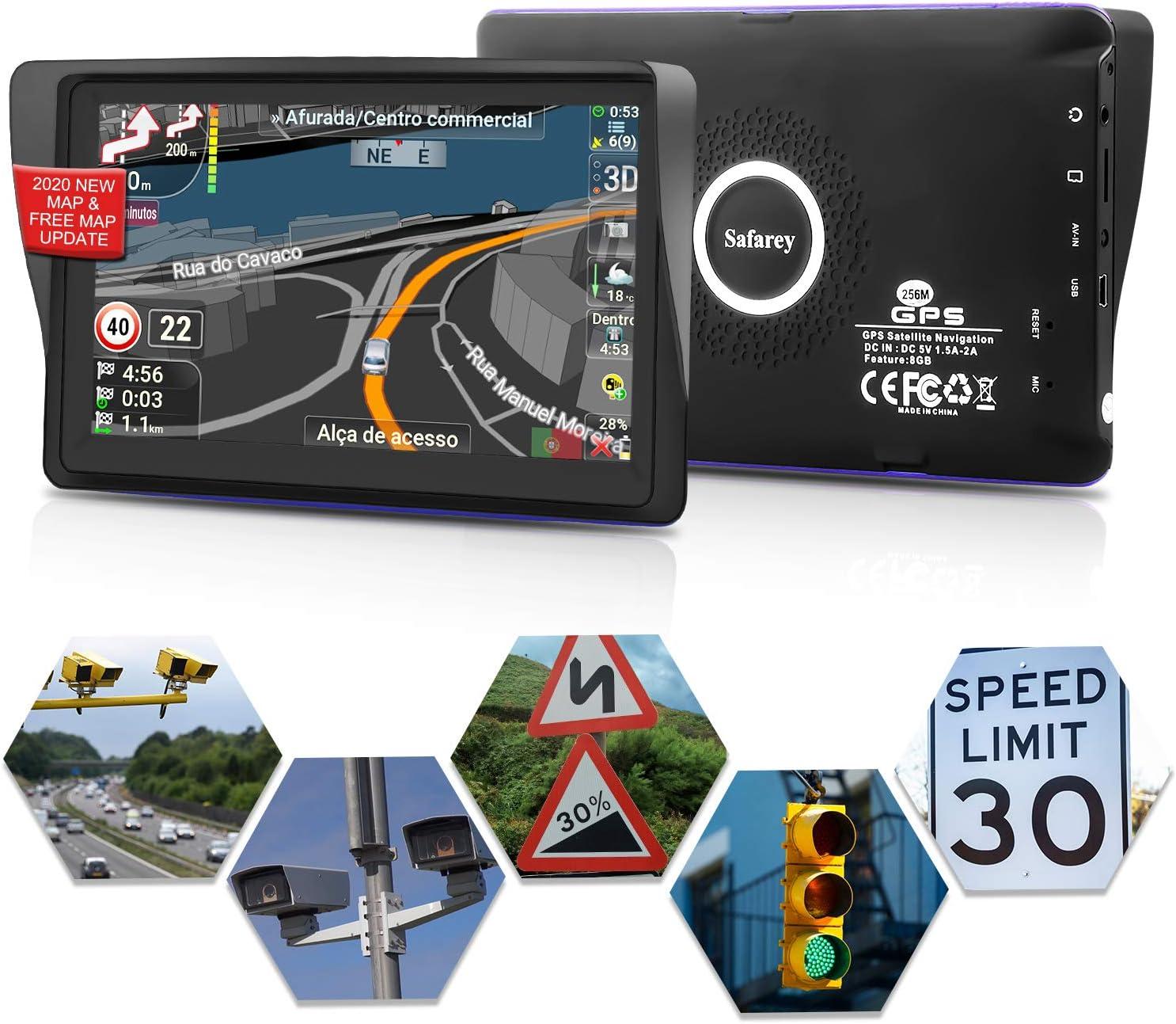 GPS coches, 7 Pulgadas Navegadores GPS para Coche, Navegador gps para coche, pantalla táctil capacitiva de alto brillo, Actualización del mapa de por vida,Dirección de giro recordando voz real hablada: Amazon.es: Electrónica