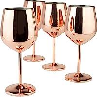 PG Copper / Rose Gold Stem Stainless Steel Wine Glass Set 4 - 18oz
