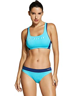 495f213beb SYROKAN Women s Workout Bikini Set Athletic Swimsuits Two Pieces Bathing  Suit