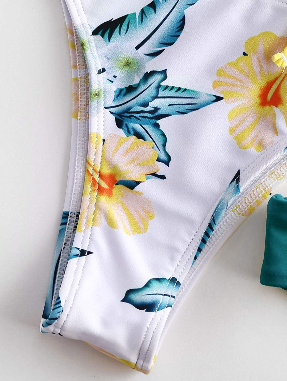 ZAFUL Women Swimwear Adjustable Back Criss-Cross Braided Spaghetti Strap Flower Bikini Set
