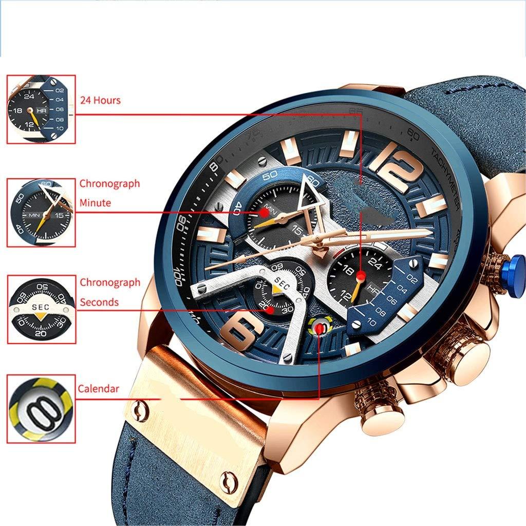 WPCBAA Kvartsur vardagliga sportklockor för män blå militär läder armbandsur man klocka mode kronograf armbandsur rem D E