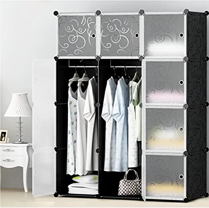 MEGAFUTURE Portable Wardrobe For Hanging Clothes, Combination Armoire,  Modular Cabinet For Space Saving,