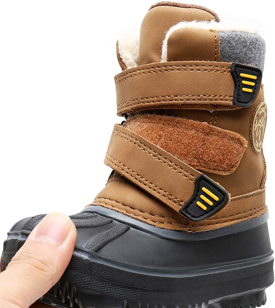 SOLARRAIN Winter Snow Boots for Toddler Boys Waterproof Insulated Non Slip Cold Weather Rain Boots for Little Kids