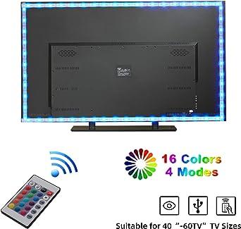 Tiras LED TV 2m, Yizhet Tiras de Luces TV LED RGB 5050 USB Iluminación Tiras de