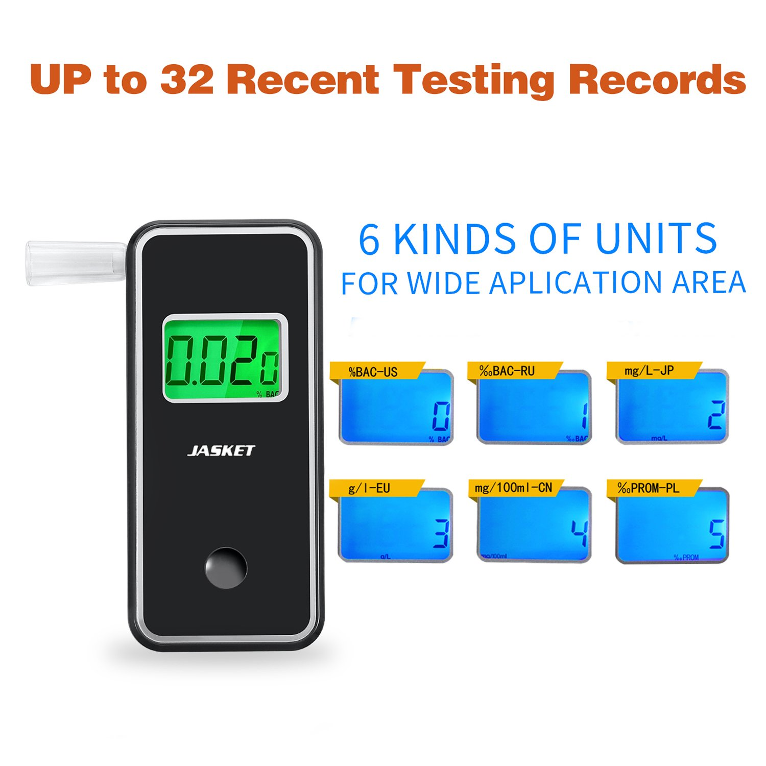 JASTEK Breathalyzer Professional Portable Digital Breath Alcohol Tester with 5 Mouthpieces -Black by JASTEK (Image #2)