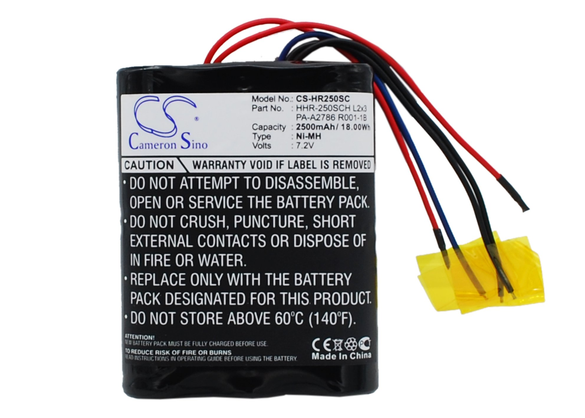 Replacement Battery for Panasonic HHR-250SCH L2x3, PA-A2786 R001-1B (2500mAh)