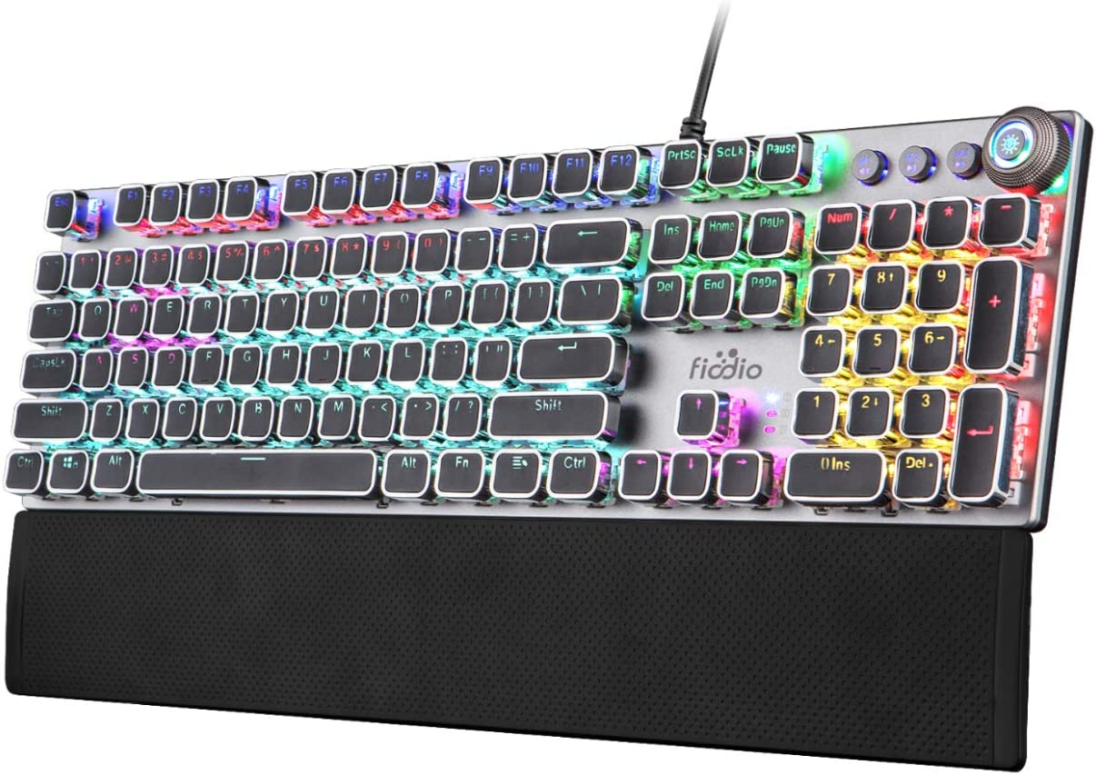 FIODIO Mechanical Gaming Keyboard, LED Rainbow Gaming Backlit, 104 Anti-ghosting Keys, Quick-Response Quiet Black Switches, Multimedia Control for PC and Desktop Computer, with Removable Hand Rest