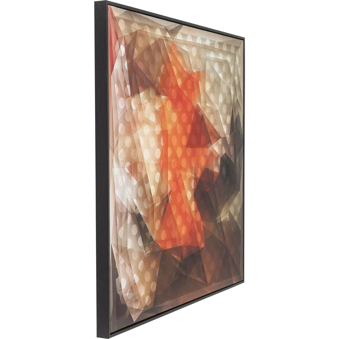 orange Kare Design 3D Abstract Bild Frame Art 80 x 80 cm
