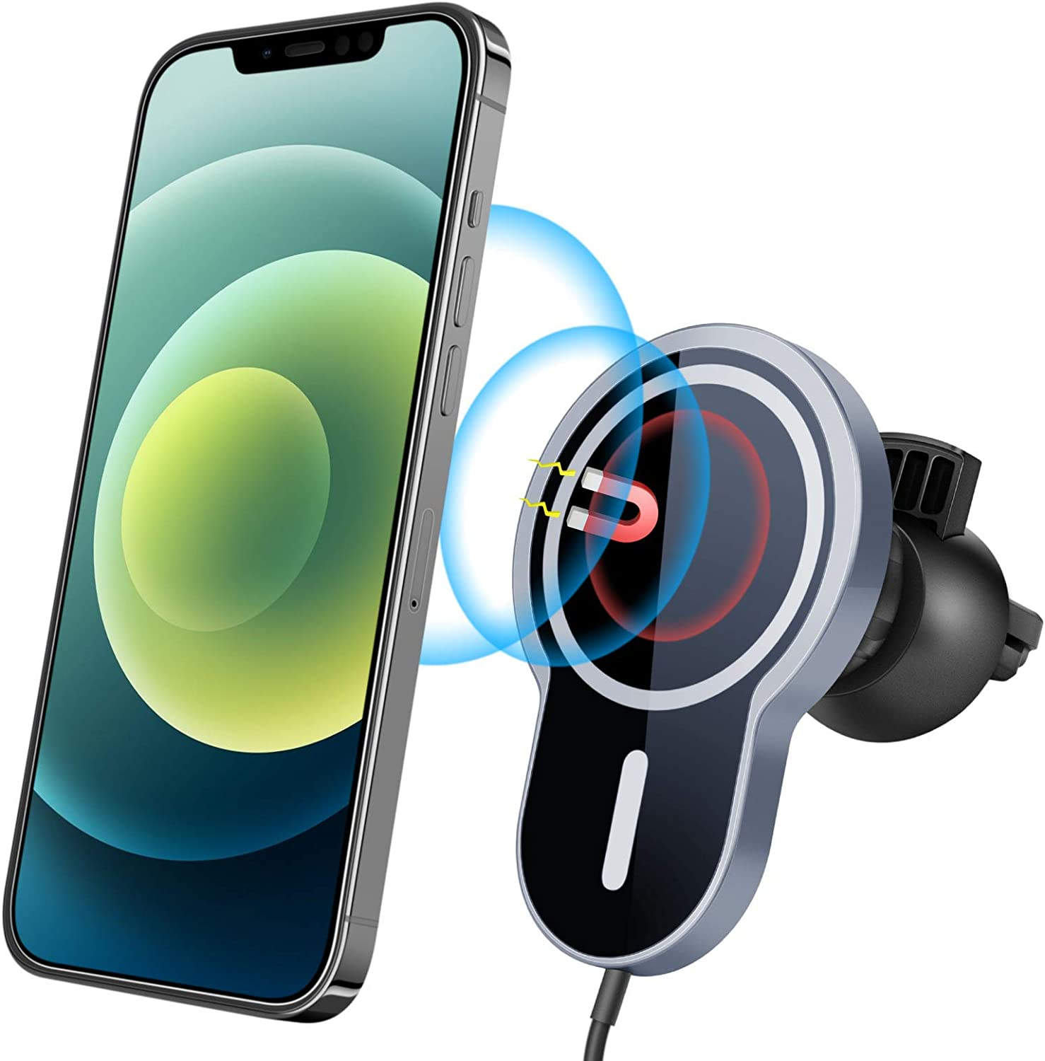 【2021 Upgraded】 Magnetic Wireless Car Charger for Mag-Safe Case//iPhone 12//12 Pro// 12 Pro Max// 12 Mini with QC3.0 Adapter 15W// 10W// 7.5W Fast Wireless Car Charger Mount with Secure Air Vent Clamp