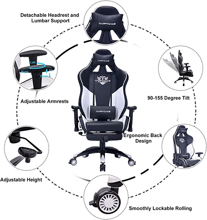 Happygame Racing Gaming Chair Oversized High Back Ergonomic Computer Desk Office Chair Pu Leather Adjustable Headrest And Lumbar Support Blue Talkingbread Co Il