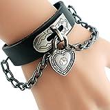 Mens Black Genuine Leather Fashion Wristband Alloy Buttons Cuff girls Cuff