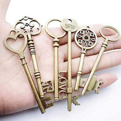 Wedding Skeleton Steampunk Key Charms for Jewelry Making DIY Findings Necklace and Bracelet Jewelry Accessories 12 Bronze Keys HM29 Key Collection