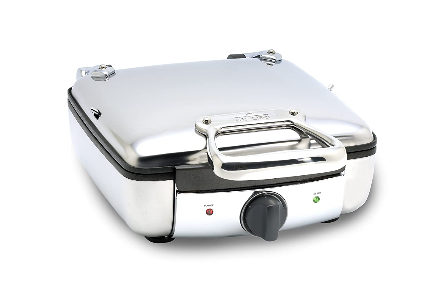 All Clad 99010 Gt Stainless Steel Belgian Waffle Maker With 7 Browning Settings, 4 Square, Silver by All Clad