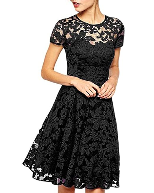 ZANZEA Donna Vestiti Abito Estete Cerimonia Cocktail Pizzo Manica Corte  Vintage Mini Dress 01-Nero 5fb574292e3