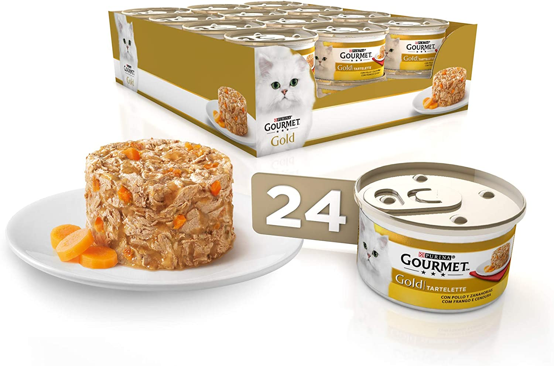 Purina Gourmet Gold Tartalette comida para gatos con Pollo y Zanahoria 24 x 85 g