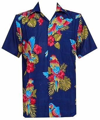 Hawaiihemd mit Papageien-Motiv, bedruckt, Blau, aus Polyester, für