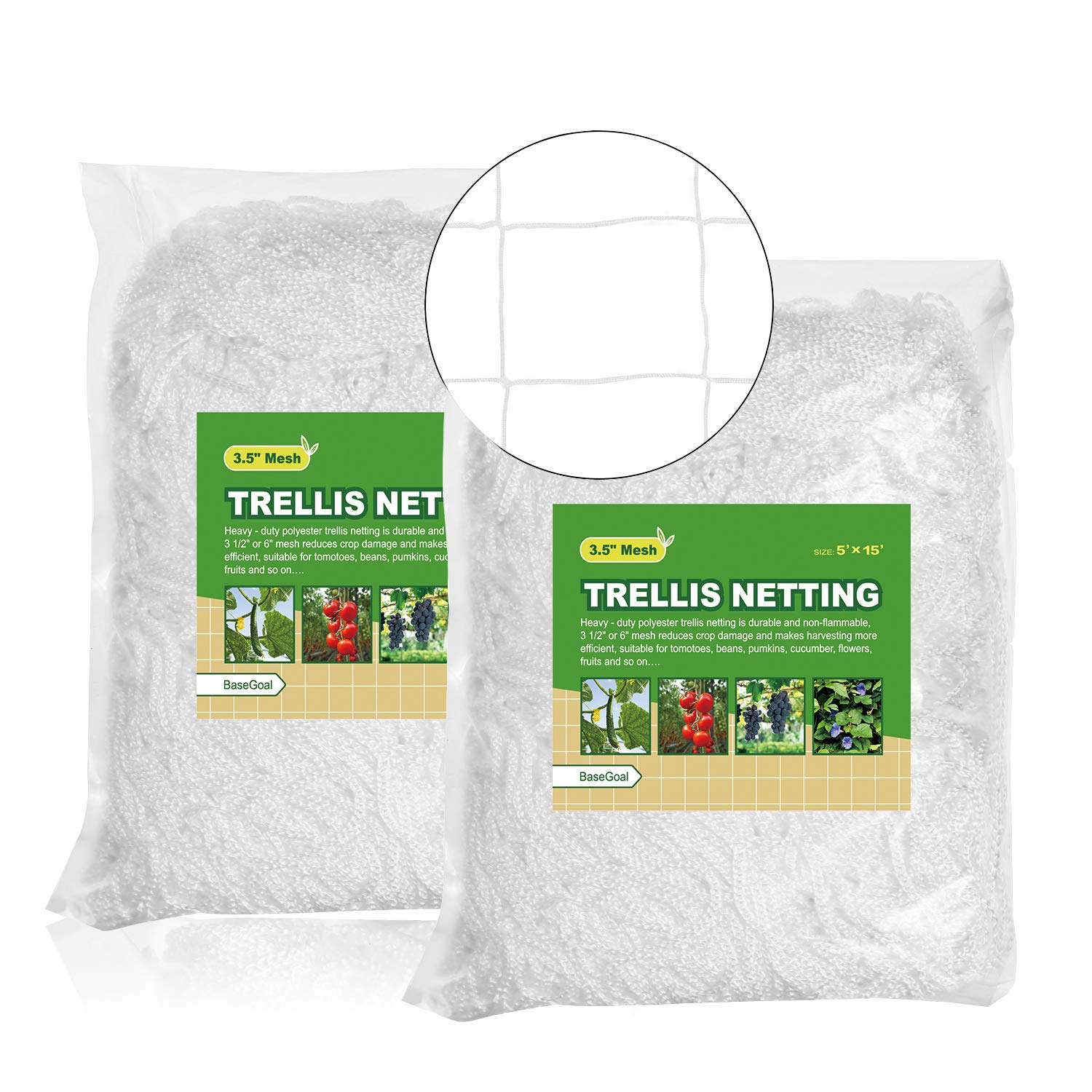 "BaseGoal All-Weather Trellis Netting Garden Vine Plant Growing Flexible String Net (3.5"" Mesh, 5' x 15'Size'-2Packs)"
