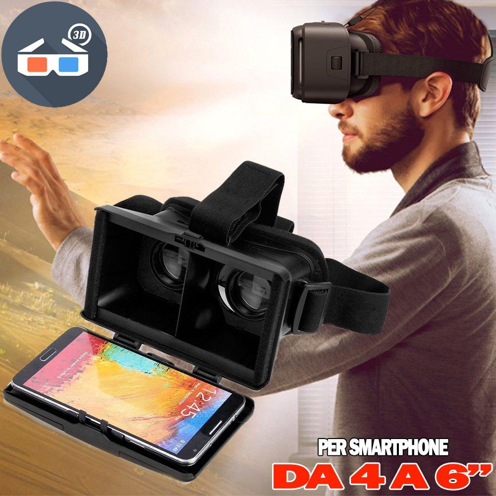 Bakaji Occhiali Visore Casco 3D Realtà Virtuale per Smartphone Android Apple Display 4 a 6 '' Colore Nero