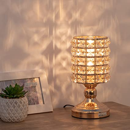 Amazon.com: HAITRAL Lámpara de mesa de cristal dorado ...