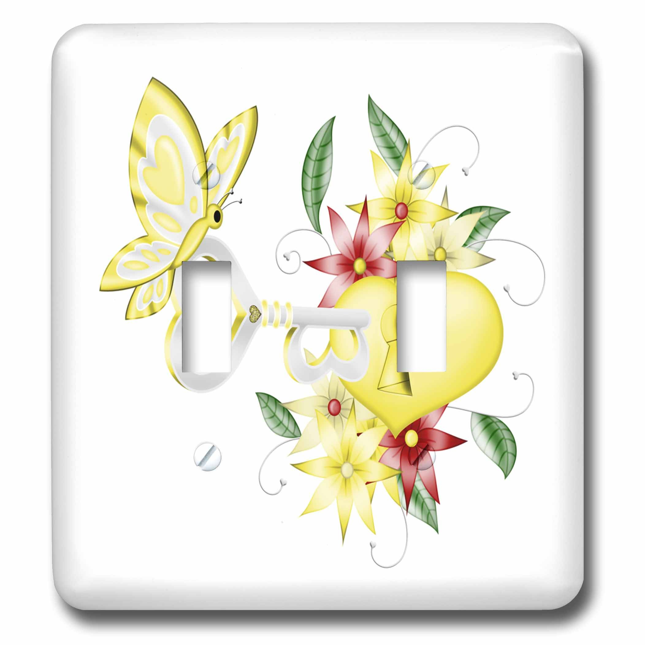 3dRose Anne Marie Baugh - Illustrations - Cute Yellow and Red Floral Lock and Key With A Butterfly Illustration - Light Switch Covers - double toggle switch (lsp_264900_2) by 3dRose (Image #1)