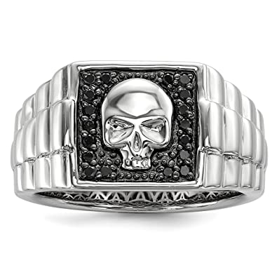 Jewelry Adviser Rings Sterling Silver Rhodium Plated Diamond Mens Ring
