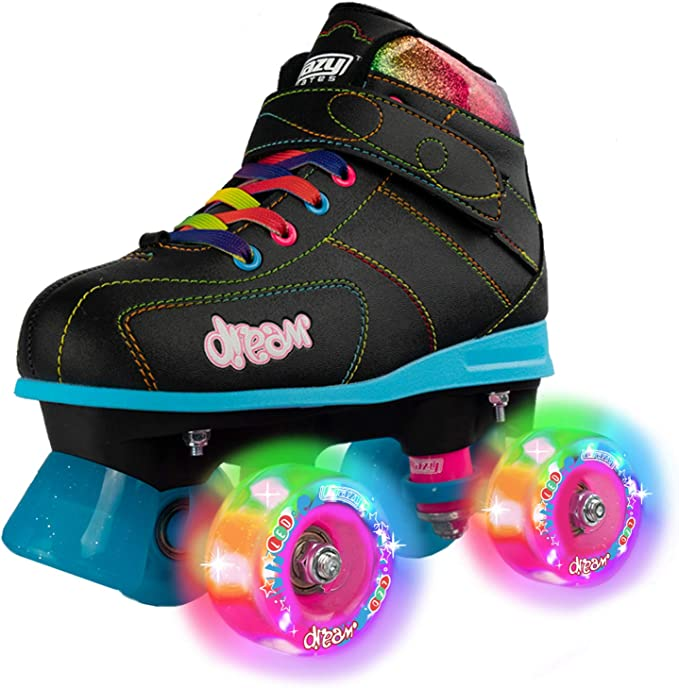 Roller Skates for Girls Boys Size 3 Green Camo for Kids Quad Derby Light with Adjustable Lace System Outdoor rollerskates Girl 4-Wheels Blades Indoor Classic Youth Toddler ABEC-7 34