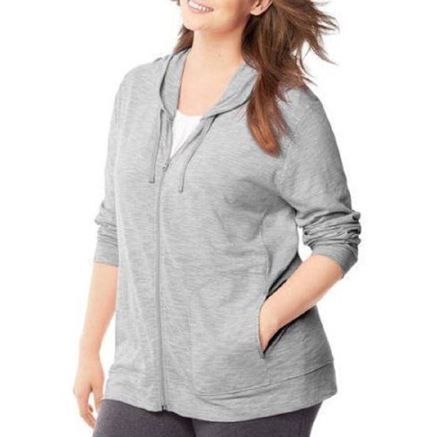 Just My Size Womens Slub-Cotton Full-Zip Hoodie, 1X, Dada Grey Heather
