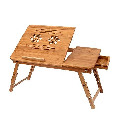 Amazon.com: Mesa de bambú ajustable para portátil para cama ...