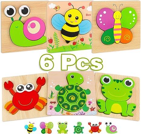 VATOS 4 Verschiedene Baby Holzpuzzle Spielzeug ab 3 4 5 Jahren Jigsaw Puzzles Set Steckpuzzle P/ädagogisches Geschenk f/ür Kleinkinder Jungen M/ädchen 112 Teile