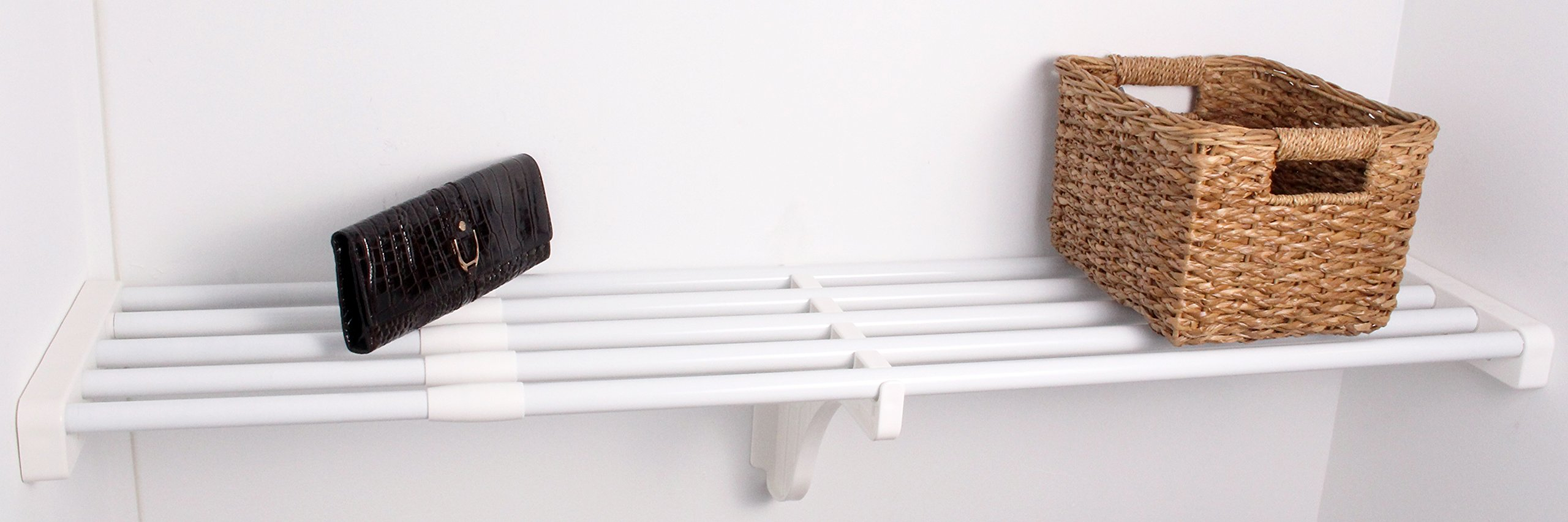 EZ Shelf - 40'' - 73'' Expandable Shelf - White - No Brackets - For Mounting Between Two Sidewalls