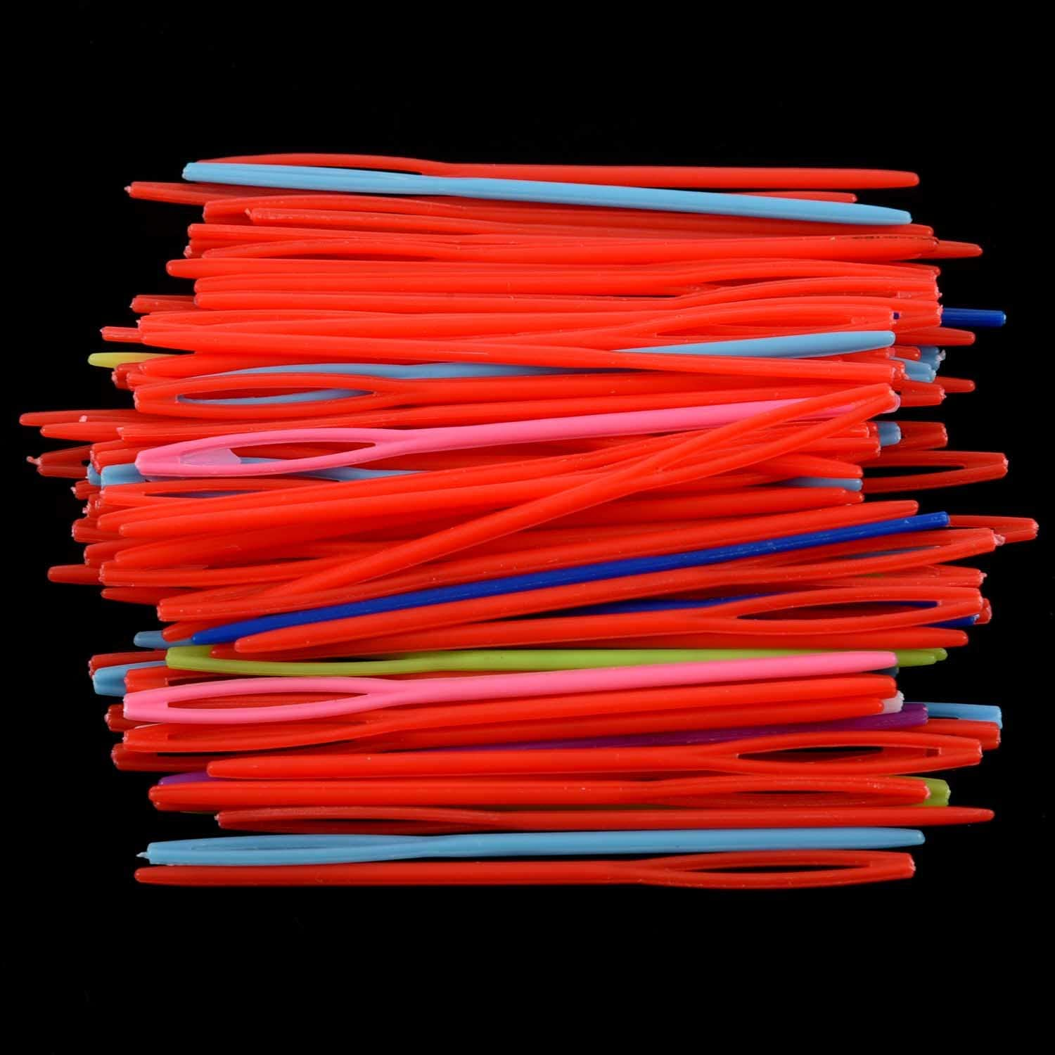Random Color Pceewtyt 100 pcs 7CM//2 3//4inch Plastic Hand Sewing Yarn Darning Tapestry Needles Plastic Lacing Needles Notions Craft