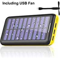 Wooyhn 24,000mAh Portable Solar Battery Pack with USB Fan (Yellow)