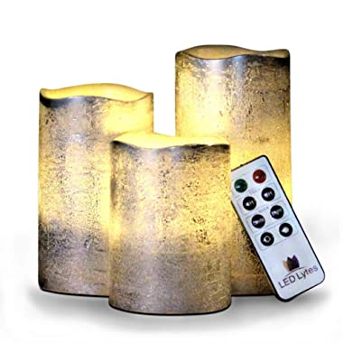 Battery Operated LED Flameless Candles Set of 3 Round Rustic Silver Coated Ivory Wax with Warm White Flame Flickering LED Candles, auto-Off Timer Remote Control by LED Lytes