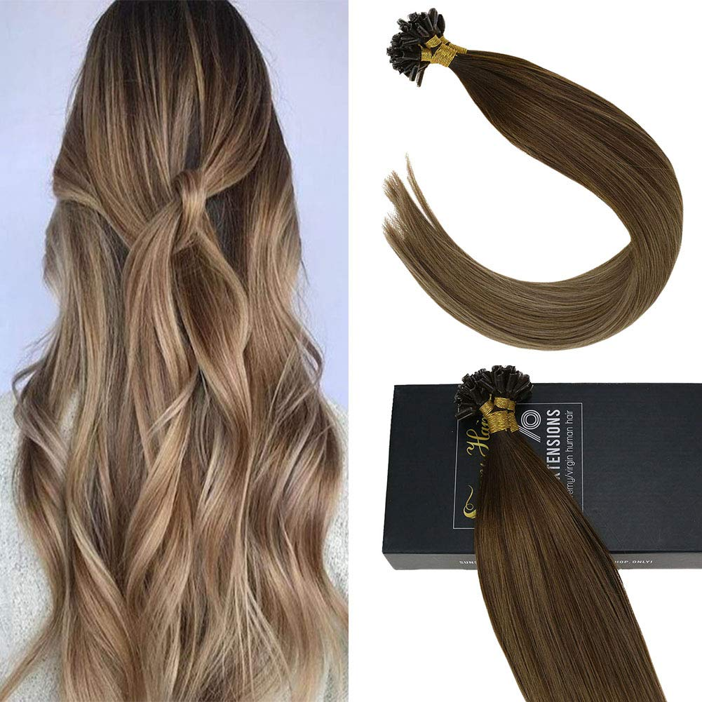 Sunny 24inch Salon Quality 7A Keratin U Tip Hair Extensions Human Hair Dark Brown #4 Ombre Golden Brown Highlights Blonde Nail Pre Bonded Hot Fusion Hair Extensions 50g/set,1g/s by Sunny Hair
