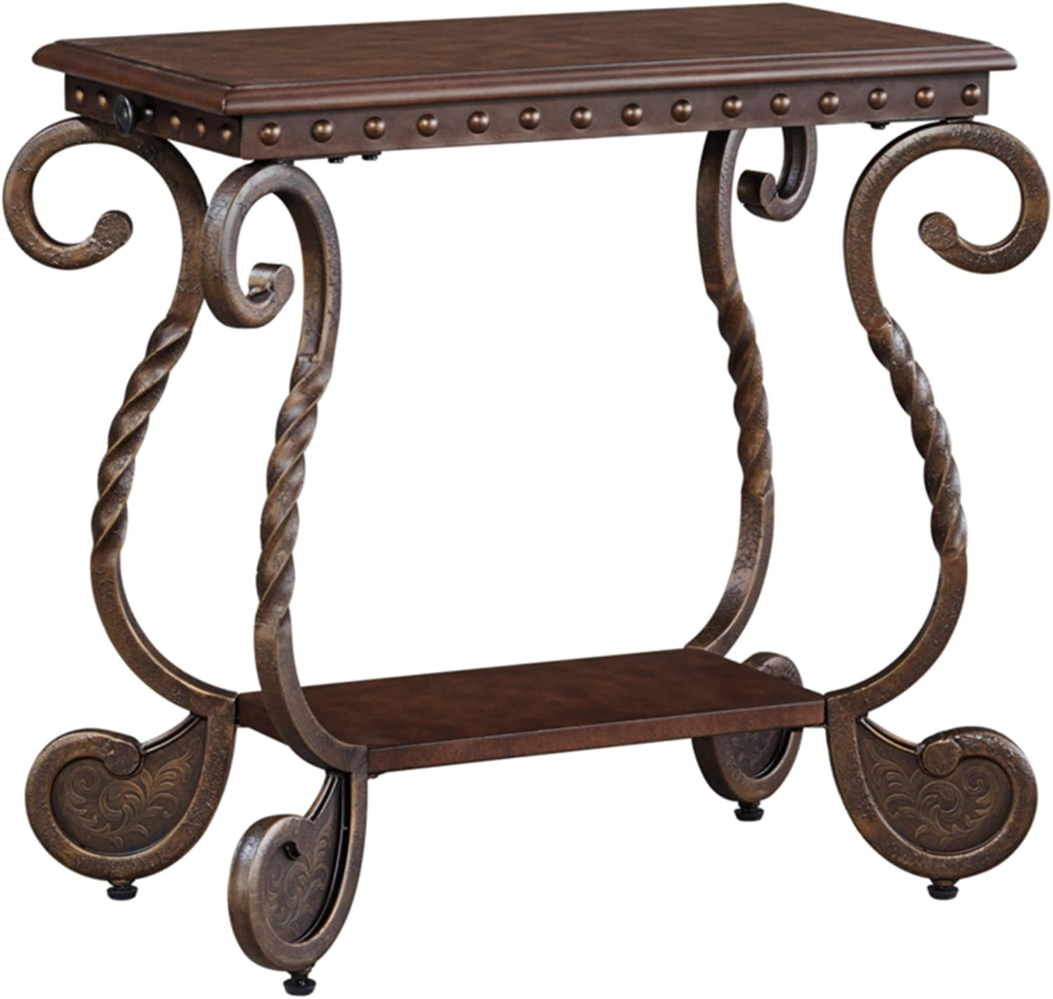Amazon Com Signature Design By Ashley Rafferty Traditional Chairside End Table Dark Brown Furniture Decor