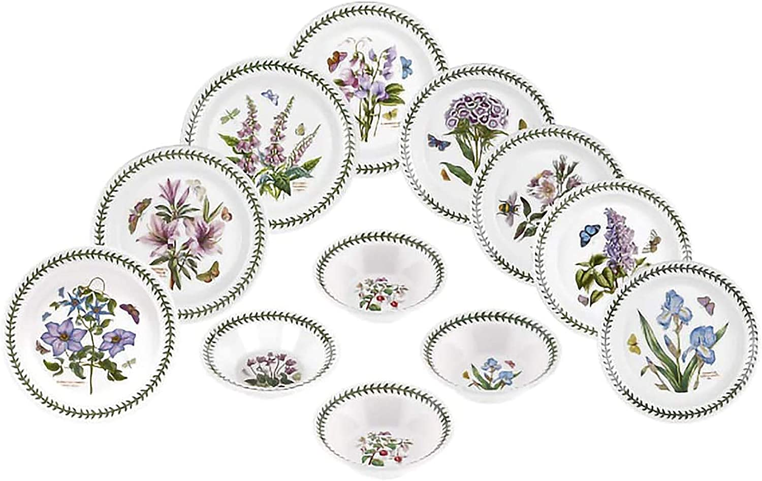 Portmeirion Dinnerware - Botanic Garden 12 Piece Earthenware Dish Set - Includes 4 10.5