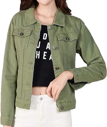 Zumzup Damen Jeansjacke Kurz Denim Jacke Retro Jacket Übergangsjacke Freizeit Bekleidung