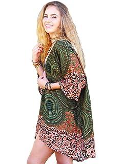 fec339a40e Lotus and Luna Womens Whitsundays Mandala Kimono Cover up One Size ...