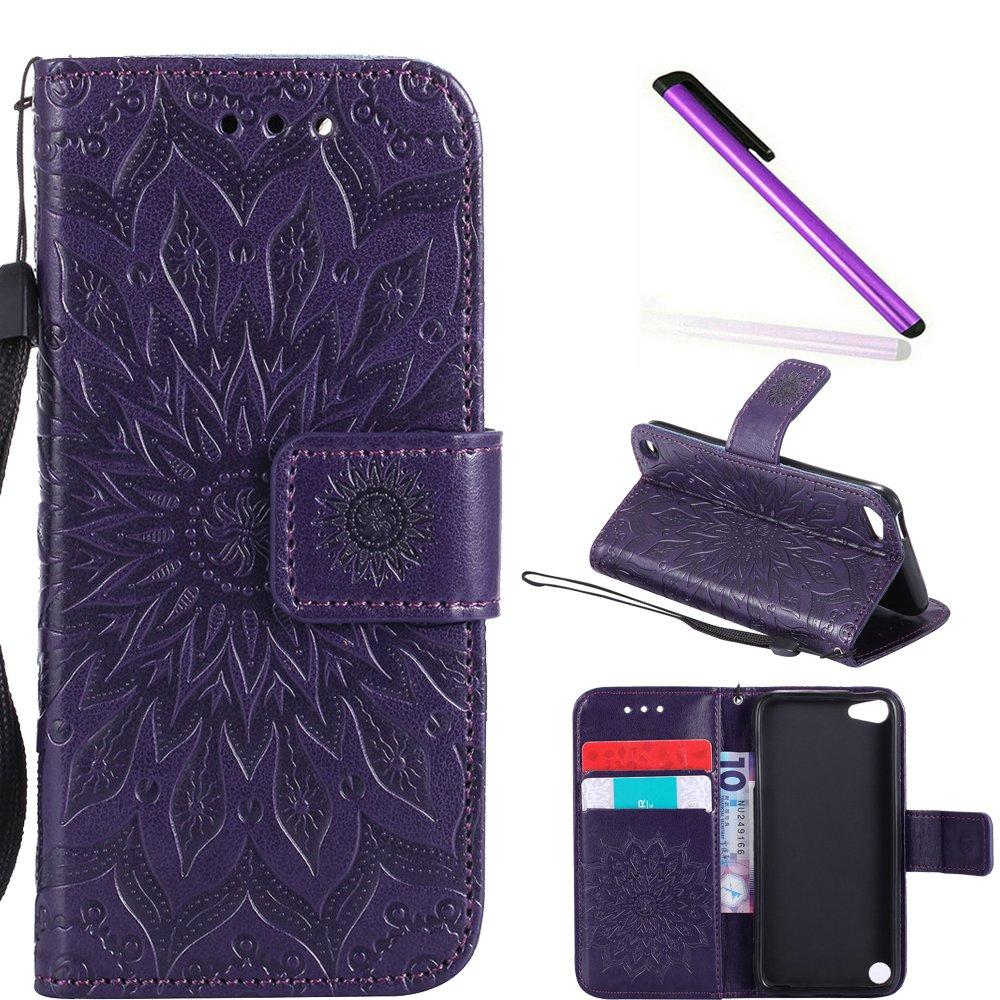 HMTECH iPod Touch 6 ケース Touch 5 ケース 4インチ サンフラワー エンボス加工 フローラルウォレットケース カードスロット付き キックスタンド PUレザー フリップスタンドカバー スタイラスペン1本 iPod Touch 6 iPod Touch 5用  B] Sunflower Mandala:purple B07F83J9XM