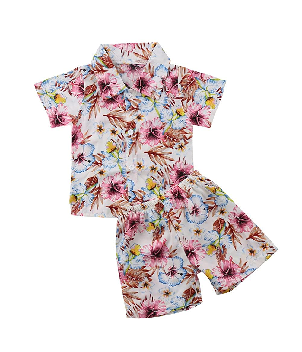 XARAZA Toddler Kids Baby Boys Summer Clothes Floral T-Shirt + Shorts Pants