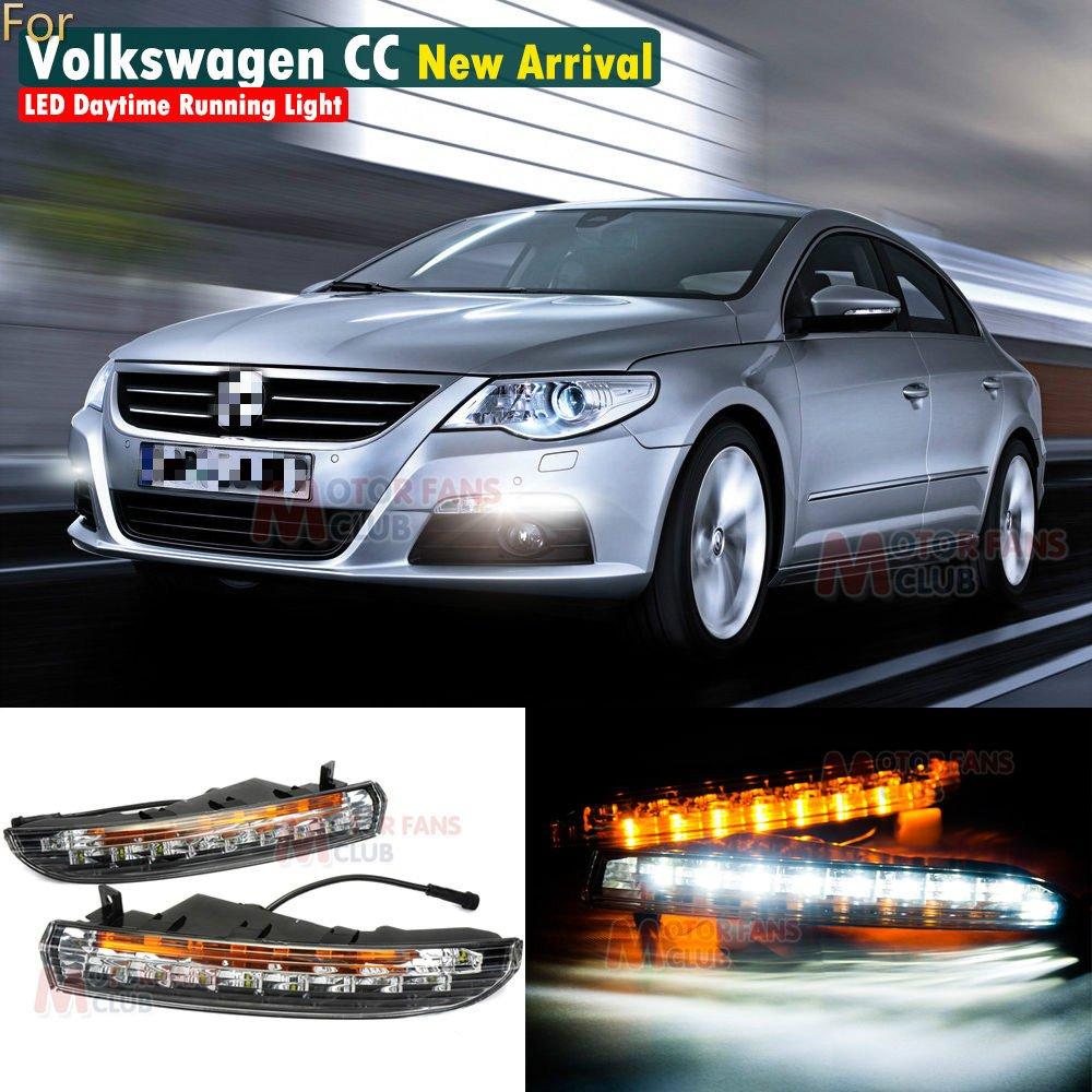 MotorFansClub Daytime Running Light LED DRL for VW Passat CC 2009 2010 2011 2012 with Turn Signal