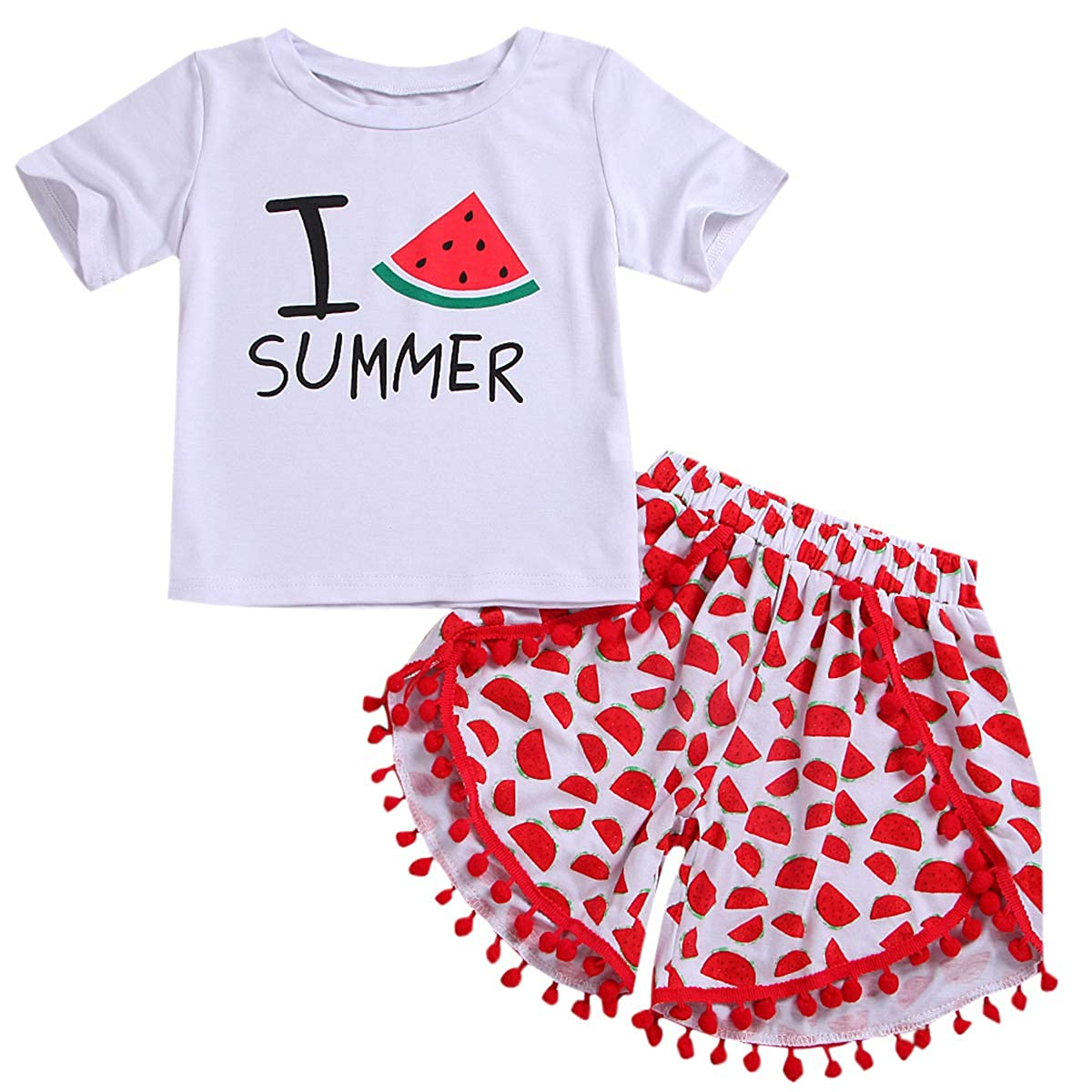 T Shirt and Shorts Set SANGTREE Little Girls Cute Outfit