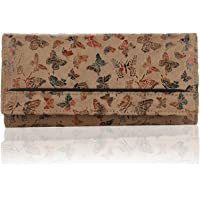 K London Women's Butterfly Pattern Leather Wallet (Beige)