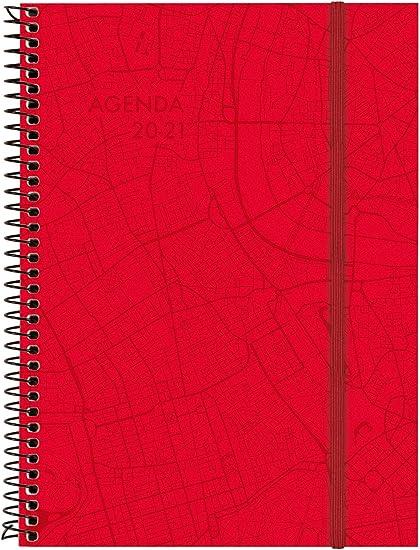 Oferta amazon: Finocam - Agenda 18 Meses 2020-2021 E10-155x212 Semana Vista Apaisada Espiral Travel Rojo Catalán