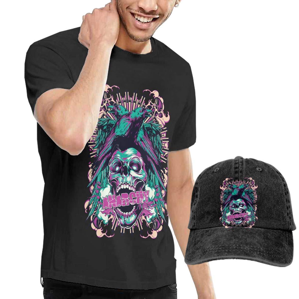 Crow Skull Cute Men Cotton Short Sleeved T-Shirt Cap,Dad Hat Unisex Adjustable Cotton Baseball Cap