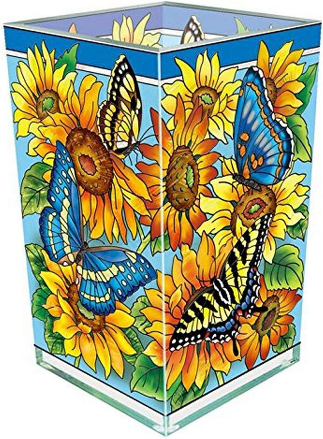 Amia Butterfly and Sunflower Glass Vase/Votive